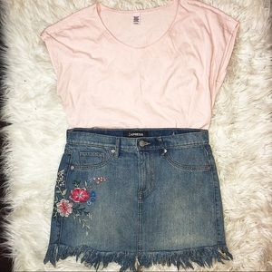 Express | Embroidered | Denim Skirt |